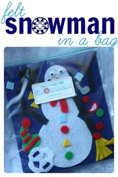 Felt Snowman in a Bag - A Build Your Own Snowman Felt Activity for Kids (in a bag). this would make a great Christmas gift (I would include Olaf's facial expression in addition to the traditional snowman options)