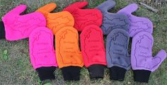 Michigan Mittens - Hot Pink, Autumn Orange, Red, Charcoal Gray, Lavender