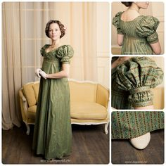 Regency gown by costume maker Elena Potapova Vintage Outfits, Vintage Dresses, 1800s Fashion, Vintage Fashion, Regency Dress, Regency Era, Sleeves Designs For Dresses, Period Outfit, Vintage Mode