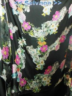 3 Yards Designer Material 100 Pure Silk Chiffon Fabric Pink Flower on Black | eBay