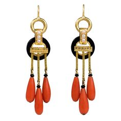 Earrings 1880, French, Made of Antique Gold, Coral and Onyx