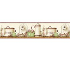 Interior Place - Burgundy Enamelware Shelf Wallpaper Border, $17.95 (http://www.interiorplace.com/burgundy-enamelware-shelf-wallpaper-border/)