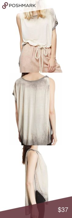 Free People Gray 1 shoulder hi low top M NWT Fabulous Free People Pluto single twist shoulder lightweight tee in a marled gray. Size medium, new with tags. LOVE!! Free People Tops