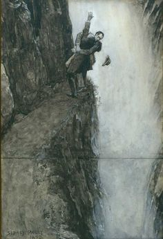 """Sidney Paget – The Death of Sherlock Holmes (""""Sherlock Holmes and Moriarty at the Reichenbach Falls""""), an illustration to Arthur Conan Doyle's The Final Problem for the Strand Magazine. December 1893"""