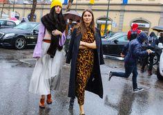 Gilda Ambrosio in a Marni dress, Marni skirt, and Marni shoes and Giorgia Tordini in a Marni dress