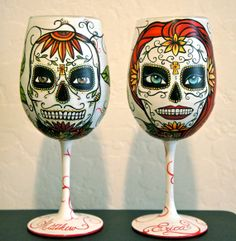 Day of the Dead Hand painted wine glass set Made by artsyleenies Wine Bottle Glasses, Painted Wine Glasses, Wine Bottles, Wine Glass Candle Holder, Wine Glass Set, Wine Glass Crafts, Wine Bottle Crafts, Quick Halloween Crafts, Wedding Glasses
