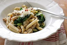 Pasta with Italian Chicken Sausage, Escarole + Beans