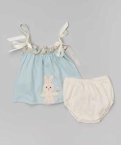 Victoria Kids Aqua Bunny Swing Top & Pearl Diaper Cover - Infant | zulily