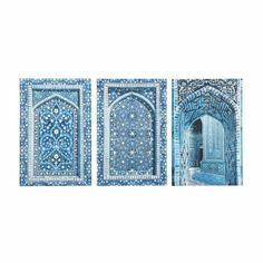 3 Bilder GABÈS, 53 x 80cm, blau