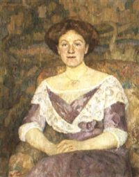 Damen i violett by Erik Theodor Werenskiold