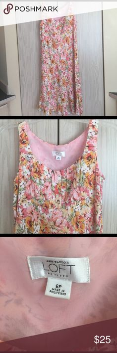 Ann Taylor LOFT floral dress Beautiful Ann Taylor LOFT  Floral Dress. New Without Tag. Dry cleaning (recommend). With a zipper on the side. Lightweight dress and perfect for most occasions. Ann Taylor Dresses Midi