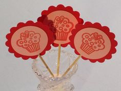Cup Cake Toppers Valentine Goodies 12 Food Picks by StuffDepot