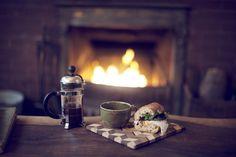 Fire, coffee, sandwich