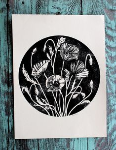 Poppy circle screen print black and cream by thehungryfox on Etsy