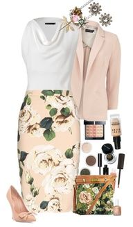 I just ADORE this skirt and its shirt and jacket. WOW. What a beautiful outfit for Spring and Summer.