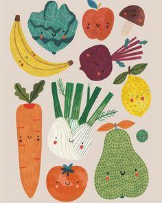 Vegetable Illustration, Fruit Illustration, Food Illustrations, Illustration Inspiration, Art Plastique, Watercolor Art, Art For Kids, Art Drawings, Art Projects