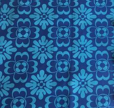VTG Fabric Textured Cotton Graphic Geometric Blue Floral 60s 70s Material Retro  | eBay