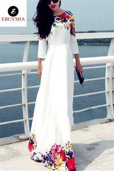 White Long Dress Floral Print Chiffon Maxi Dress For Women Maxi Dress With Sleeves, Floral Maxi Dress, Maxi Dresses, Party Dresses, Maxi Skirts, Lace Maxi, Floral Lace, Floral Sleeve, Chiffon Maxi Dress