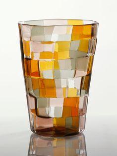 """Fulvio Bianconi (Italian, 1915-1996) for Venini, """"Pezzato Stoccolma,"""" glass vase, circa 1950's, marked """"Venini, Murano, Italia,"""" 9"""" h x 6 1/2"""" dia at opening. Provenance: From a Rome, Italy estate. Sold for $5,500 on 09/27/2015"""