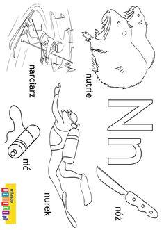 Alfabet - litera N - kolorowanki, malowanki dla dzieci do druku