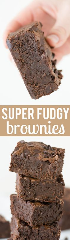 These SUPER FUDGY BROWNIES are a family favorite loaded and with 3 kinds of chocolate. Not your average brownies, these are dense and super chocolatey!