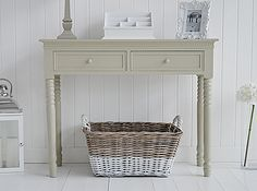 Wicker basket dipped | French grey console table for hall furniture