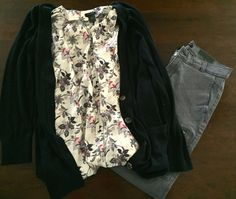 Floral Top in Cream - Ann Taylor. Button-Down Cardigan in Navy - The Loft. Zippered Skinny Pant in Grey - Banana Republic.