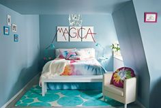 Love this room! All these have teen vogue bedding on them! Teen Bedroom Colors, Blue Bedroom, Dream Bedroom, Girls Bedroom, Bedroom Decor, Bedroom Ideas, Bedroom Lighting, Bedroom Pics, Bedroom Stuff