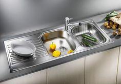 A kényelem új megjelenési formája.  Nagyméretű medencék. Célszerű design a konyhában. Speciális kialakítású, nagy méretű csepegtetőfelület.