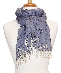 Love this Tickled Pink Blue Lace Fringe Scarf by Tickled Pink on #zulily! #zulilyfinds