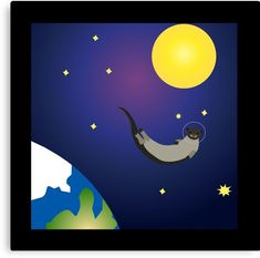 Otters are already so comfortable swimming around, how different could a space walk be? Perfect for a nursery, decor for your office or even a fun piece for your living room. Astronauts In Space, Space Exploration, Otters, Vector Art, Nursery Decor, Digital Art, Swimming, Canvas Prints, Explore