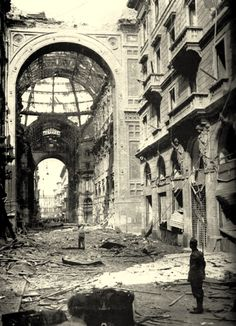 The Vittorio Emmanuele gallery after RAF bombing raids during WWII, Milan, 1943