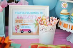 Surf themed birthday party with lots of cute ideas! Via Kara's Party Ideas - KarasPartyIdeas.com #surfing #surfparty #poolparty