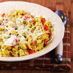 This recipe for Eggs Scrambled with Red Pepper, Basil and Cheese was created at Lake Powell by my friend Cheryl, so now I call it Cheryl's Eggs. [from KalynsKitchen.com] #LowCarb #GlutenFree