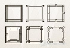 Geometric Art Deco Frames - you could frame photos or fabric swatches and hang them on your wall.