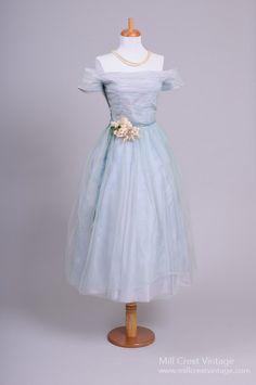 1950's Sky Blue Tulle Vintage Party/Wedding Dress : Mill Crest Vintage