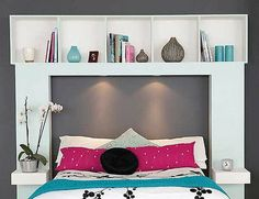 I like the idea of a headboard that's functional. In this case the headboard is implied with the shelving and framing around where a traditional headboard would be. The lights are a nice bonus too :)