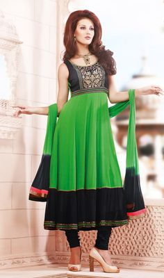 Green and Black Georgette Anarkali Suit Price: Usa Dollar $168, British UK Pound £99, Euro124, Canada CA$182 , Indian Rs9072.