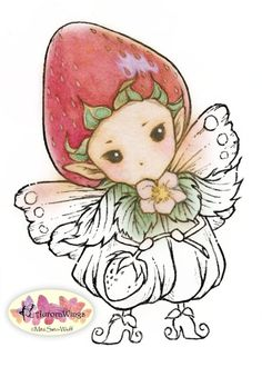 Digital Stamp - Whimsical Strawberry Sprite - Instant Download - digistamp - Fantasy Line Art for Cards & Crafts by Mitzi Sato-Wiuff
