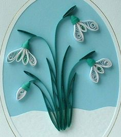 Christmas card quilled snowdrops paper by PaperDaisyCardDesign, £6.00