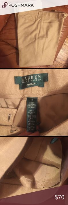 Ralph Lauren Adele will blend pants Cream/tan wool pleated trousers. Perfect for work in the winter. Lined and cuffed Ralph Lauren Pants Trousers