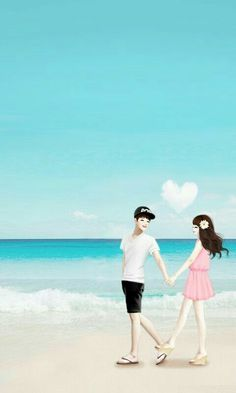 """It's """"pink Color"""" day Love Cartoon Couple, Cute Couple Art, Anime Love Couple, Cute Anime Couples, Cute Love Wallpapers, Cute Couple Wallpaper, Anime Korea, Animated Love Images, Lovely Girl Image"""
