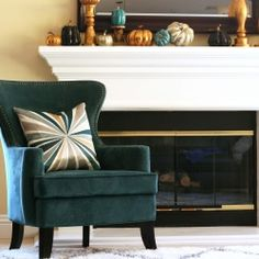 Teal Fall Mantel | Looksi Square  Saved for the pillow! KC