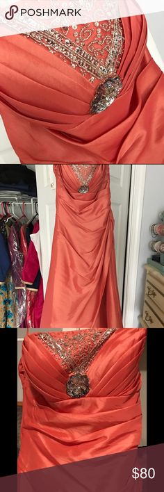 Tangerine colored prom dress Worn once! Floor length prom dress Dresses Prom