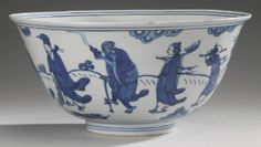 A BLUE AND WHITE 'EIGHT IMMORTALS' BOWL WANLI MARK AND PERIOD - Sotheby's