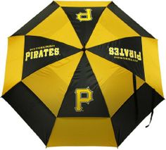 """MLB Pittsburgh Pirates Umbrella, Black from Team Golf - 62"""" double-canopy umbrella with multi-colored panels and full color durable imprint. Includes an easy grip molded handle. Withstands strong winds. http://www.umbrellaforsale.com/mlb-pittsburgh-pirates-umbrella-black/"""