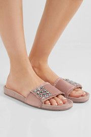 Arabela Swarovski crystal-embellished satin and suede slides