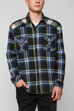 Urban Renewal Contrast-Yoke Flannel Shirt