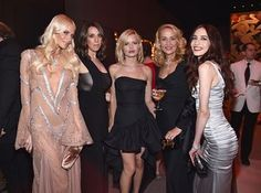 Models Poppy Delevingne (left), Georgia May Jagger (centre), with Jerry Hall and Elizabeth Jagger (right) at the Vanity Fair Oscars party
