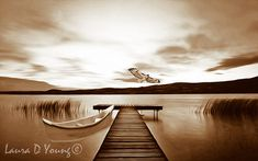 Mountain Lake Print Dock on Lake Canoe Boat by FineArtography